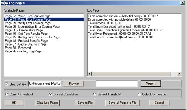 Drive Information – Log Pages & Sense Data